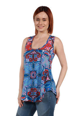 24Seven Comfort Apparel Francesca Blue Sleeveless Tunic Top