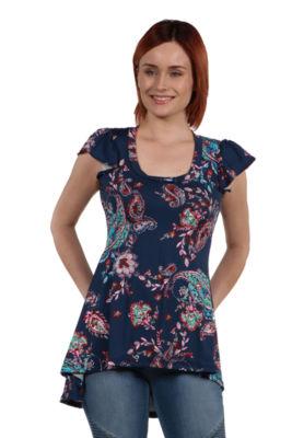 24Seven Comfort Apparel Brittany Blue Print Hi Lo Tunic Top