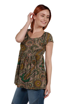 24Seven Comfort Apparel Marlowe Green Paisley Short Sleeve Tunic Top
