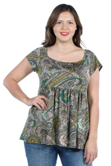 24Seven Comfort Apparel Marlowe Green Paisley Short Sleeve Tunic Top - Plus
