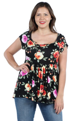 24Seven Comfort Apparel Drew Black Floral Short Sleeve Tunic Top - Plus