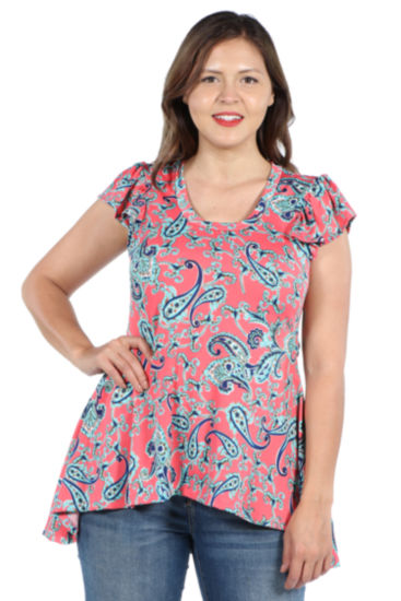 24Seven Comfort Apparel Scout Hi Lo Pink Tunic Top - Plus