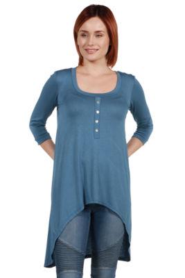 24/7 Comfort Apparel Laila Henley Neckline Tunic Top - Plus