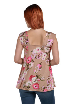 24Seven Comfort Apparel Britt Brown and Pink Floral Wrap Tunic Top - Plus