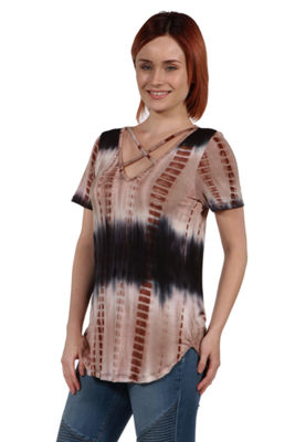 24Seven Comfort Apparel Clementina Brown and Blue Tie Dye Tunic Top - Plus