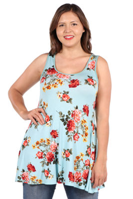 24Seven Comfort Apparel Ashlee Green Floral Tunic Top - Plus