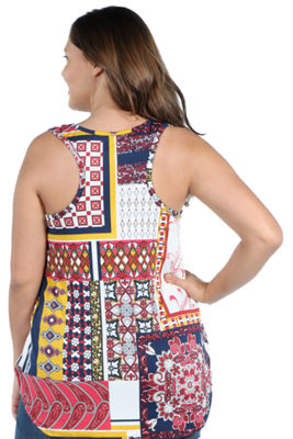 24Seven Comfort Apparel Evie Red Patchwork Sleeveless Tunic Top - Plus