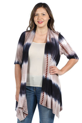 24Seven Comfort Apparel Amy Hi Lo Brown and Navy Shrug - Plus