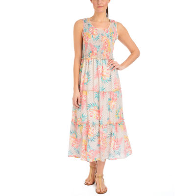 NY Collection Printed Sleeveless Tiered Skirt Maxi Dress
