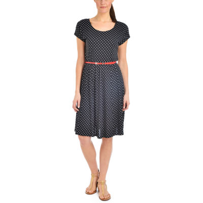 NY Collection Polka Dot Dress with Contrasting Belt