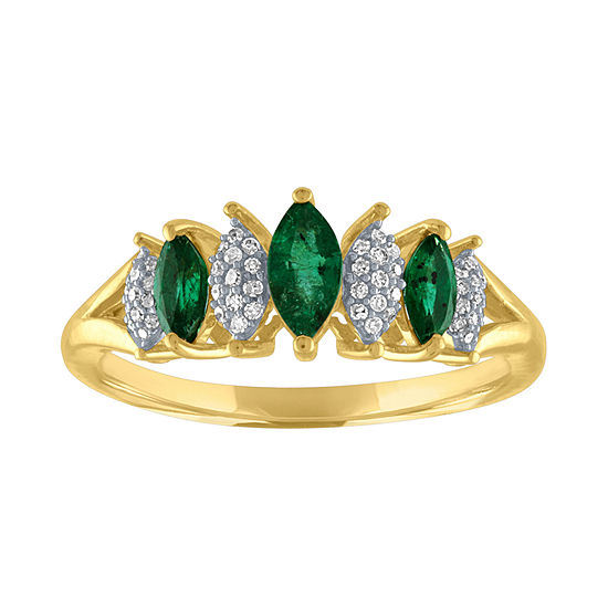 Womens 1/10 CT. T.W. Genuine Green Emerald 10K Gold Cocktail Ring