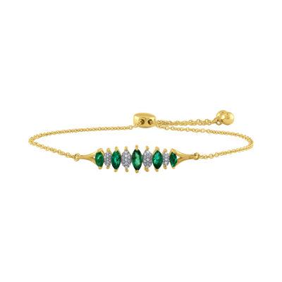 Womens Green Emerald 10K Gold Link Bracelet