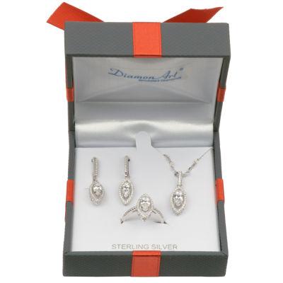 Diamonart Womens 3-pc. White Cubic Zirconia Sterling Silver Jewelry Set