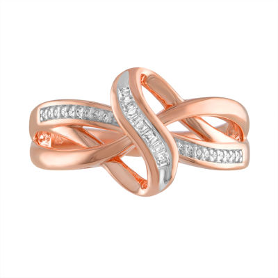 Womens 1/10 CT. T.W. Genuine White Diamond 14K Rose Gold over Silver Ring