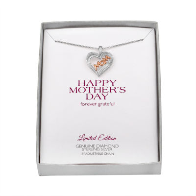 """Womens Diamond Accent Sterling Silver & 14K Rose Gold over Silver """"Mom"""" Heart Pendant Necklace"""