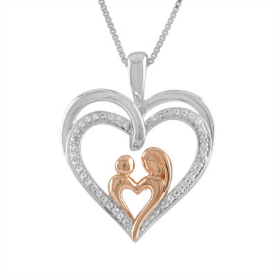Womens 1/10 CT. T.W. Genuine White Diamond 14K Rose Gold Over Silver Sterling Silver Heart Pendant Necklace