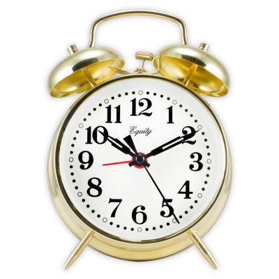 Equity by La Crosse Analog Metal Twin Bell Keywind Alarm Clock