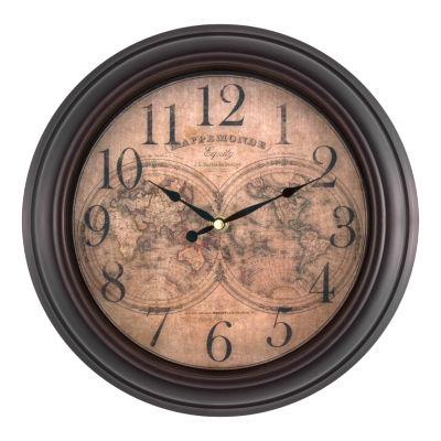 Equity by La Crosse 12 Inch World Map Wall Clock