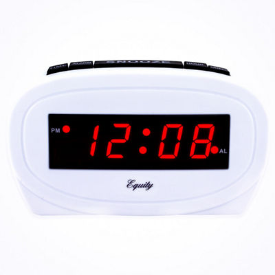 Equity by La Crosse Digital 0.60 In. Red LED Electric White Alarm Clock