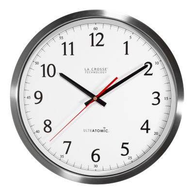 La Crosse Technology 14 Inch UltrAtomic Analog Stainless Steel Wall Clock