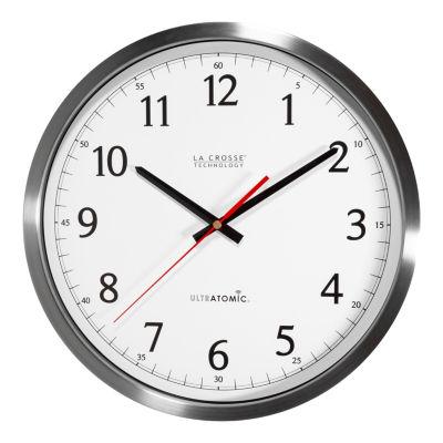 La Crosse Technology 14 Inch UltrAtomic Analog Stainless Steel Wall Clock