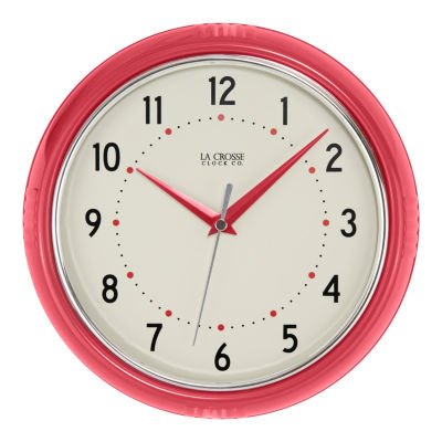 La Crosse Clock 9.5 Inch Round Retro Diner Analog Wall Clock