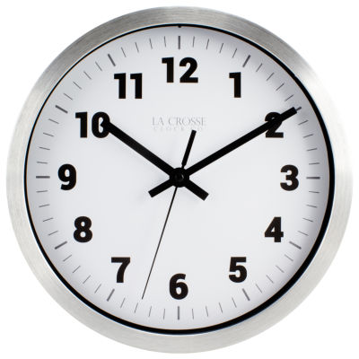 La Crosse 10 In Silver Metal Analog Wall Clock with White Dial