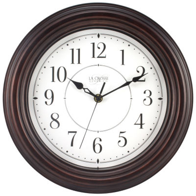 La Crosse Clock 12 Inch Round Brown Plastic Wall Clock with Silent Movement