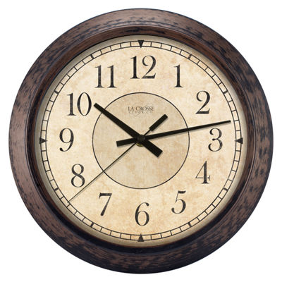 La Crosse Clock 14 Inch Round Brown Plastic Analog Wall Clock