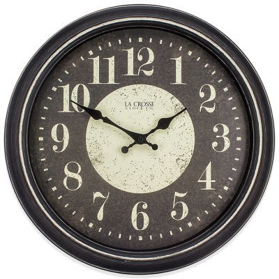 La Crosse Clock 15.75 Inch Black Weathered Plastic Analog Wall Clock