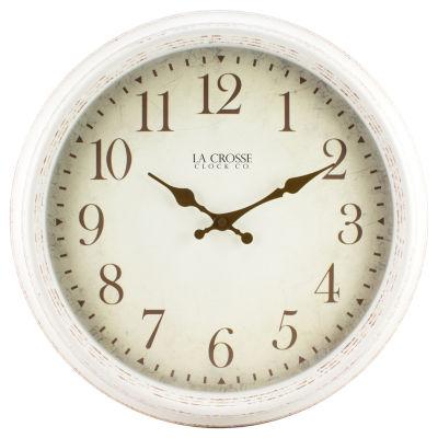 La Crosse Clock 16 Inch Round Antique Patina Analog Wall Clock