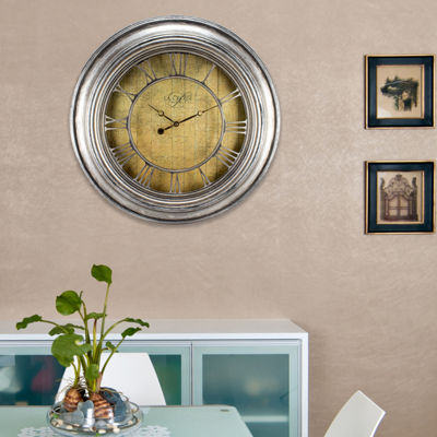 La Crosse Clock 24 Inch Round Weathered Analog Wall Clock with Cut-out Numerals