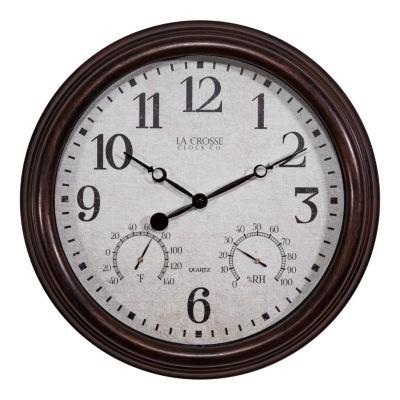 La Crosse Clock 15 Inch Indoor/Outdoor Wall Clock with Temperature and Humidity