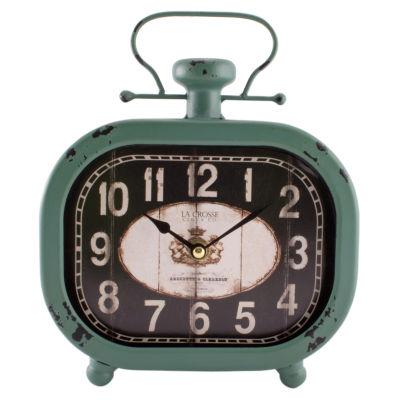 "La Crosse Clock 10"" Distressed Metal Decorative Clock"