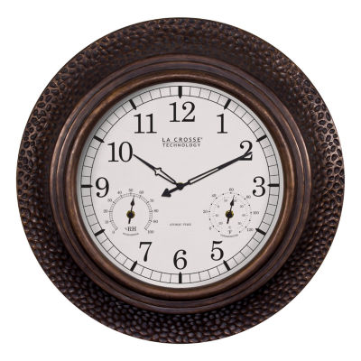 La Crosse Technology 22 Inch Round Polyresin Atomic Analog Wall Clock with Temperature & Humidity