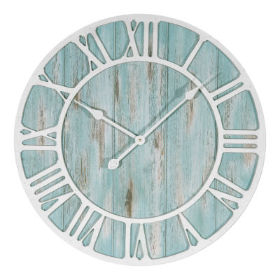 La Crosse Clock 23.5 Inch Round Coastal Decorative Quartz Wall Clock