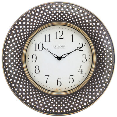 La Crosse Clock 16 In. Antiqued Lattice Round Analog Wall Clock
