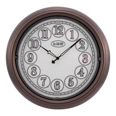 La Crosse 18 In Indoor/Outdoor Analog Lighted Dial Wall Clock in Antique Bronze finish