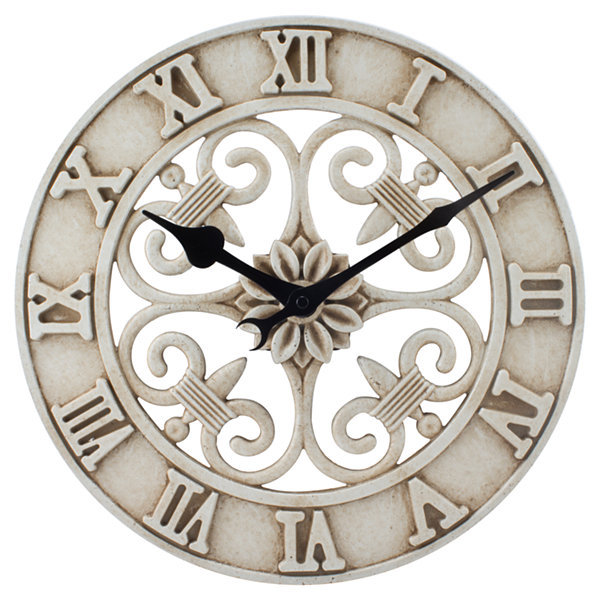 La Crosse 14 In. Antiqued White Cast Iron Indoor/Outdoor Wall Clock