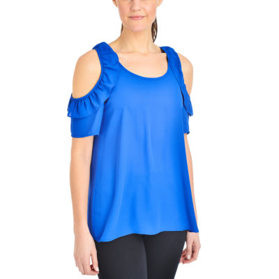 NY Collection Ruffle Cold Shoulder Top
