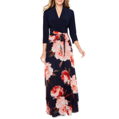 Be by CHETTA B 3/4 Sleeve Maxi Dress
