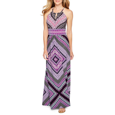 London Style Sleeveless Geometric Maxi Dress