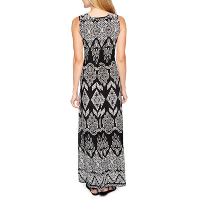 Ronni Nicole Sleeveless Puff Print Maxi Dress