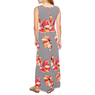 Ronni Nicole Sleeveless Stripe Floral Maxi Dress