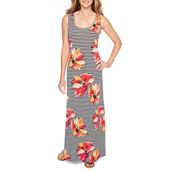 Ronni Nicole Sleeveless Stripe Floral Maxi Dress