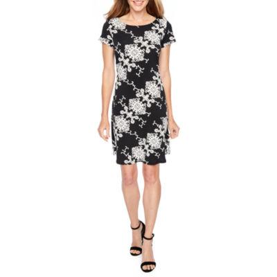 Ronni Nicole Short Sleeve Puff Print Medallion A-Line Dress