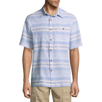 Island Shores Short Sleeve Stripe Button-Front Shirt