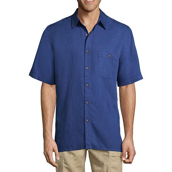 Island Shores Mens Short Sleeve Button-Front Shirt