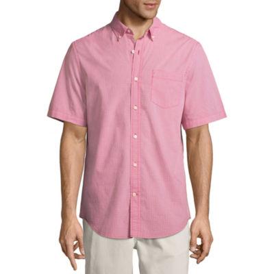 St. John's Bay Mens Short Sleeve Button-Front Shirt