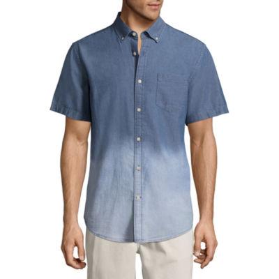 St. John's Bay Short Sleeve Ombre Button-Front Shirt